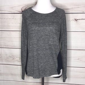 Madewell Grey & Blue Asymmetrical Long Sleeve Top